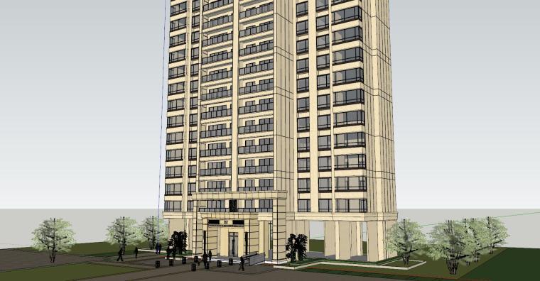 新古典风知名地产1梯2户210㎡住宅建筑模型-新古典风知名地产户型1梯2户210㎡住宅建筑模型 (1)
