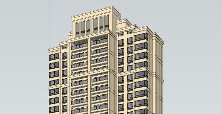 新古典风知名地产1梯2户210㎡住宅建筑模型-新古典风知名地产户型1梯2户210㎡住宅建筑模型 (2)