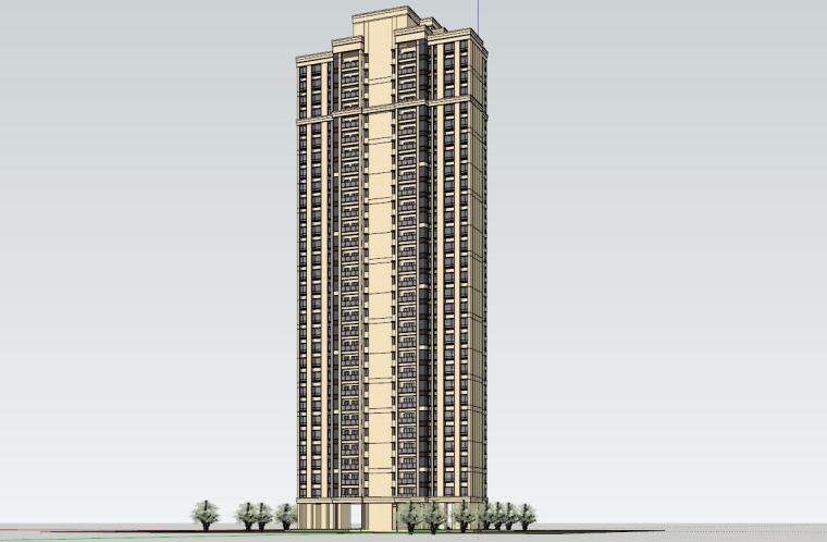 新古典风知名地产1梯2户210㎡住宅建筑模型-新古典风知名地产户型1梯2户210㎡住宅建筑模型 (4)