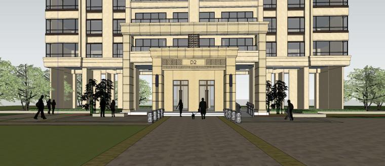 新古典风知名地产1梯2户210㎡住宅建筑模型-新古典风知名地产户型1梯2户210㎡住宅建筑模型 (5)