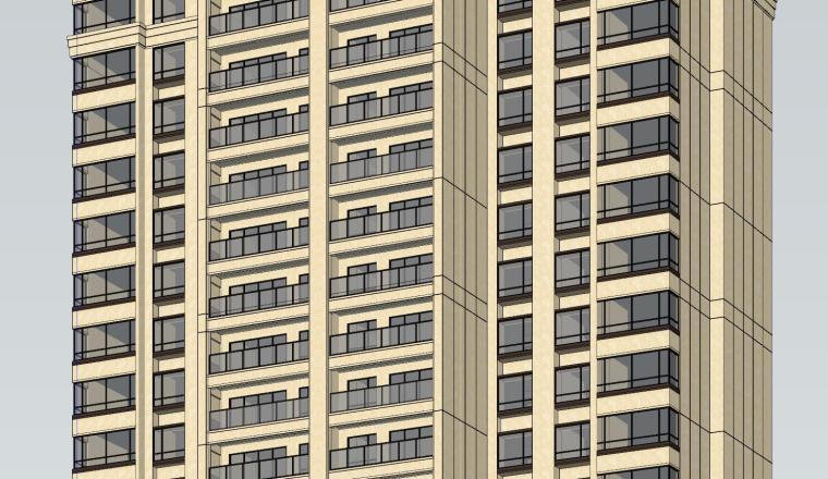 新古典风知名地产1梯2户210㎡住宅建筑模型-新古典风知名地产户型1梯2户210㎡住宅建筑模型 (3)