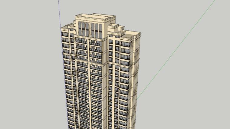 新古典风知名地产1梯2户210㎡住宅建筑模型-新古典风知名地产户型1梯2户210㎡住宅建筑模型 (6)