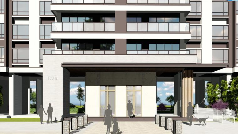 现代风格知名地产1梯2户210㎡住宅建筑模型-现代风格知名地产户型1梯2户210㎡住宅建筑模型 (2)