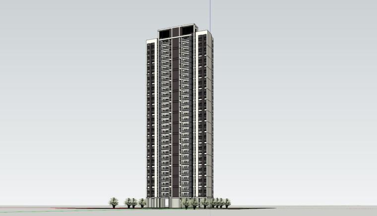 现代风格知名地产1梯2户210㎡住宅建筑模型-现代风格知名地产户型1梯2户210㎡住宅建筑模型 (4)