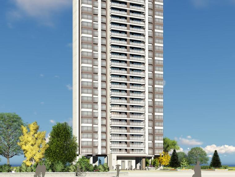 现代风格保利户型1梯2户210㎡住宅建筑模型
