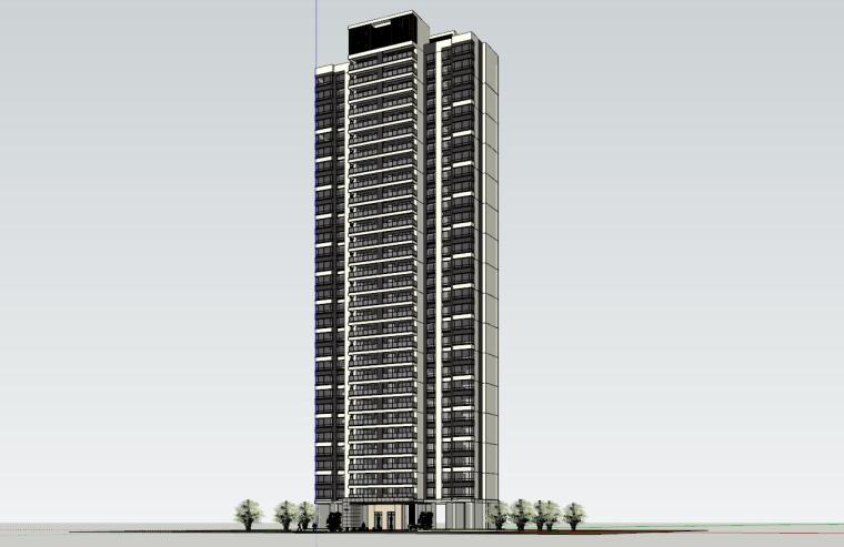 现代风格知名地产1梯2户210㎡住宅建筑模型-现代风格知名地产户型1梯2户210㎡住宅建筑模型 (3)
