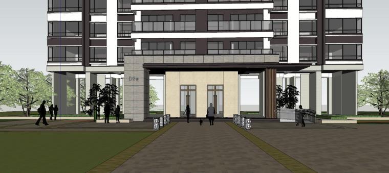 现代风格知名地产1梯2户210㎡住宅建筑模型-现代风格知名地产户型1梯2户210㎡住宅建筑模型 (5)