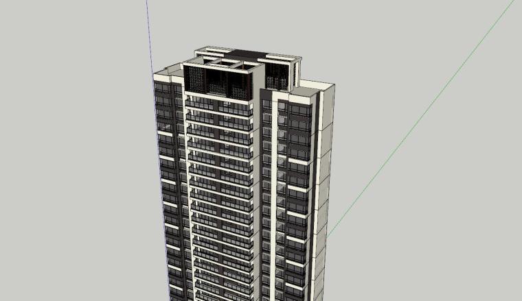 现代风格知名地产1梯2户210㎡住宅建筑模型-现代风格知名地产户型1梯2户210㎡住宅建筑模型 (6)