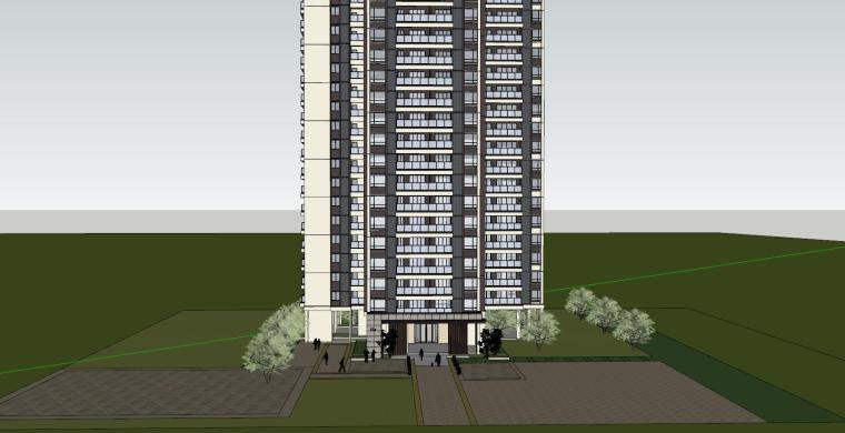 现代风格知名地产1梯4户住宅建筑模型-现代风格知名地产户型1梯4户住宅建筑模型 (1)