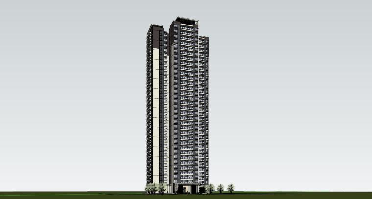 现代风格知名地产1梯4户住宅建筑模型-现代风格知名地产户型1梯4户住宅建筑模型 (6)
