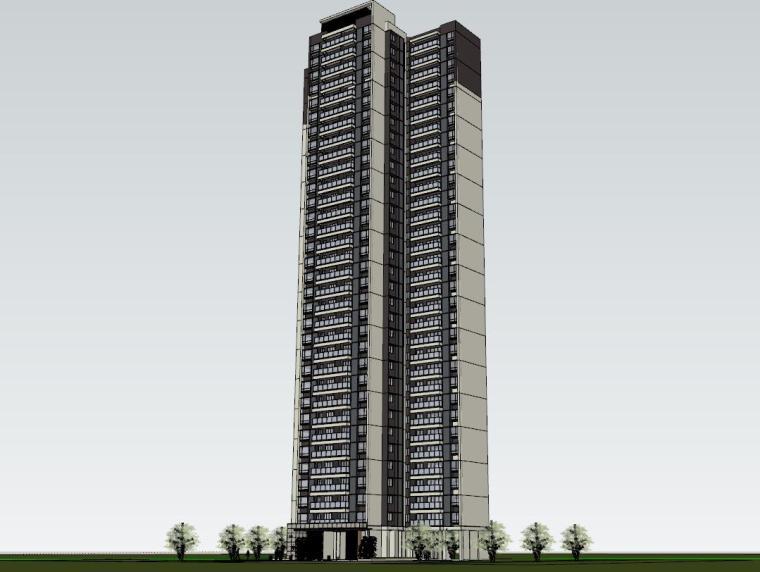 现代风格知名地产1梯4户住宅建筑模型-现代风格知名地产户型1梯4户住宅建筑模型 (3)