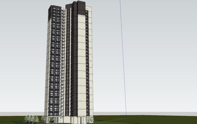 现代风格知名地产1梯4户住宅建筑模型-现代风格知名地产户型1梯4户住宅建筑模型 (5)