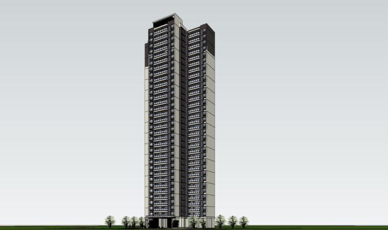 现代风格知名地产1梯4户住宅建筑模型-现代风格知名地产户型1梯4户住宅建筑模型 (2)