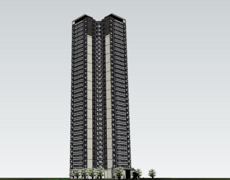 现代风格知名地产1梯4户住宅建筑模型-现代风格知名地产户型1梯4户住宅建筑模型 (4)
