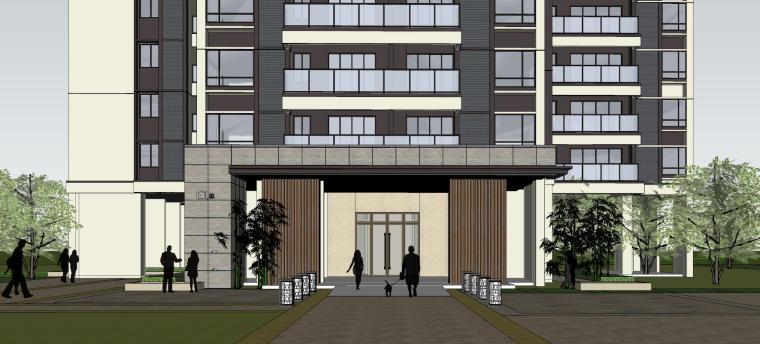 现代风格知名地产1梯4户住宅建筑模型-现代风格知名地产户型1梯4户住宅建筑模型 (8)