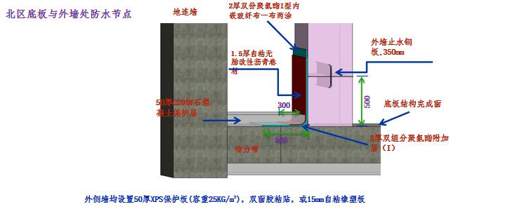[上海]综合办公楼防水施工方案培训讲义PPT-39底板与外墙处防水节点