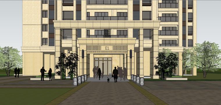 新古典风格保利户型1梯4户住宅建筑模型