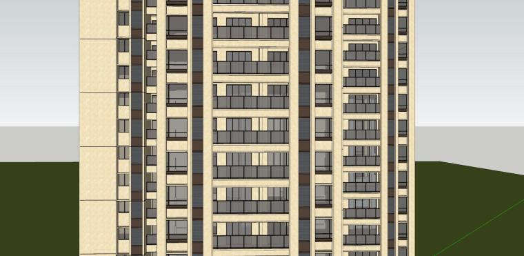 新古典风格知名地产1梯4户住宅建筑模型-新古典风格知名地产户型1梯4户住宅建筑模型 (2)