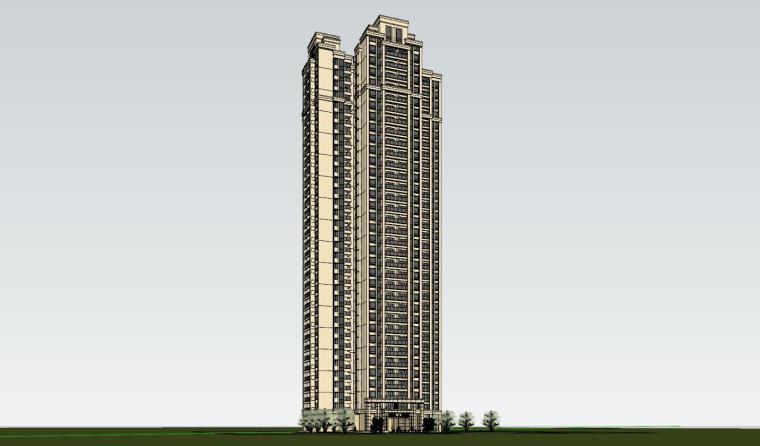 新古典风格知名地产1梯4户住宅建筑模型-新古典风格知名地产户型1梯4户住宅建筑模型 (6)