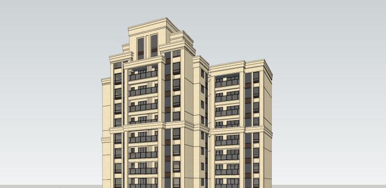 新古典风格知名地产1梯4户住宅建筑模型-新古典风格知名地产户型1梯4户住宅建筑模型 (3)