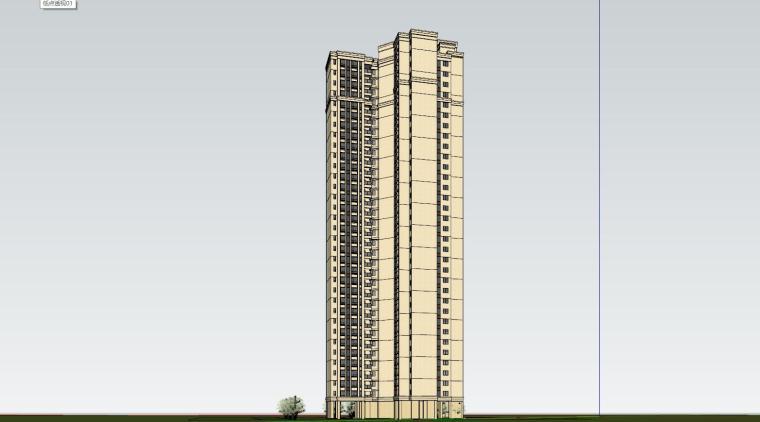 新古典风格知名地产1梯4户住宅建筑模型-新古典风格知名地产户型1梯4户住宅建筑模型 (4)