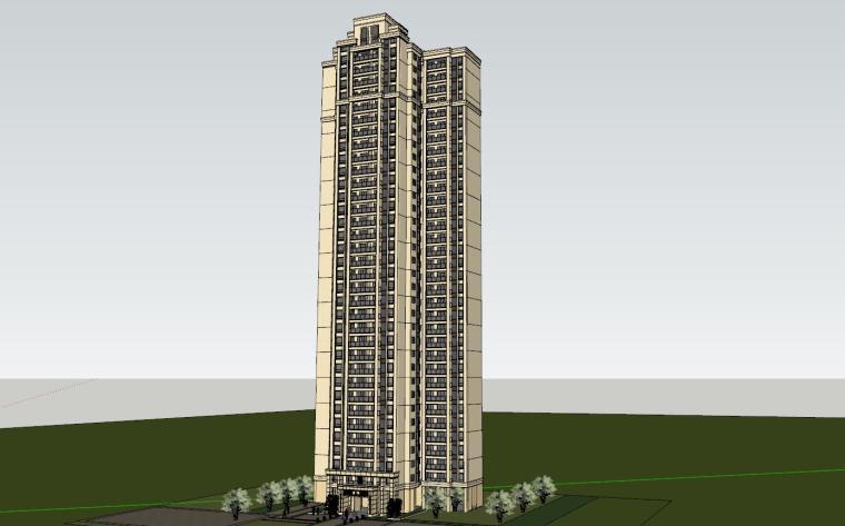 新古典风格知名地产1梯4户住宅建筑模型-新古典风格知名地产户型1梯4户住宅建筑模型 (5)