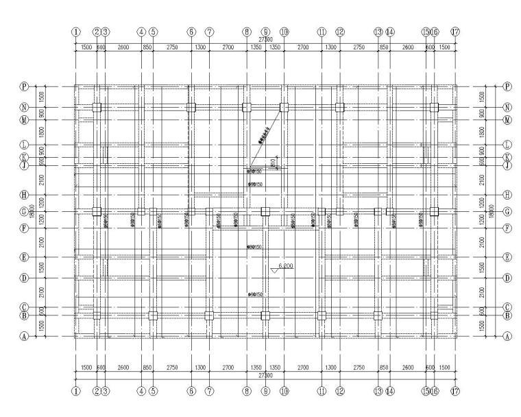 六层住宅楼混凝土结构设计施工图(CAD)-结构平面图