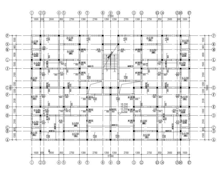 六层住宅楼混凝土结构设计施工图(CAD)-结构平面图2