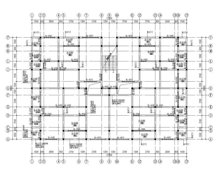 六层住宅楼混凝土结构设计施工图(CAD)-结构配筋图