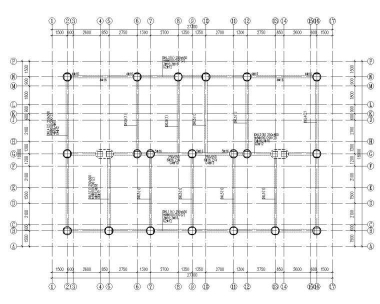 六层住宅楼混凝土结构设计施工图(CAD)-基础布置图