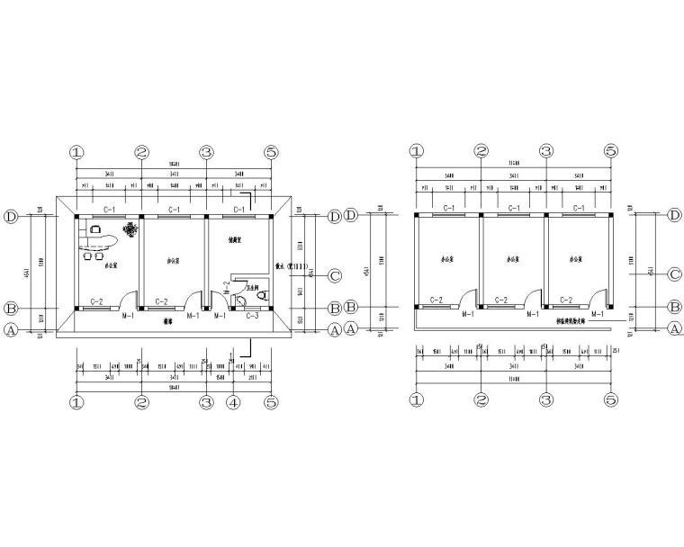 二层办公楼砖混结构施工图(CAD含建筑图)