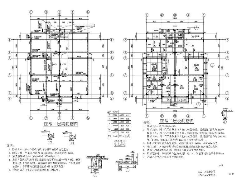 三层小型混凝土别墅结构施工图(CAD)
