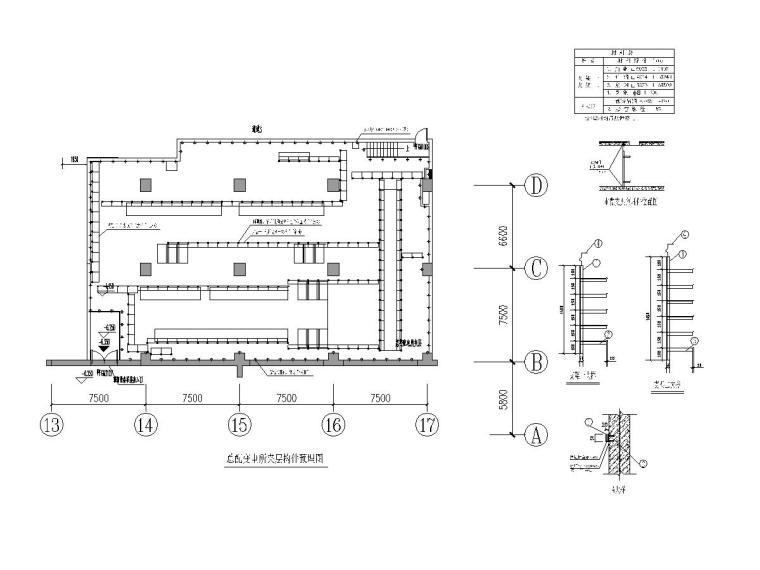 总配变电所夹层构件预埋图