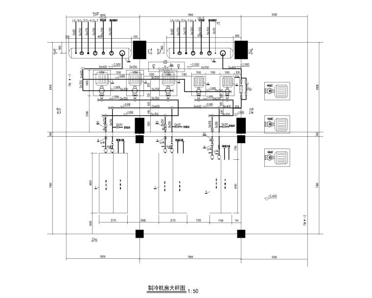 柴油发电机安装大样图资料下载-空调制冷机房大样图CAD(参考做法)