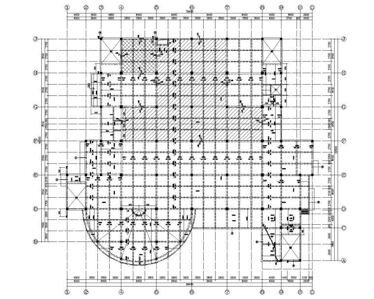 某学校四层食堂框架结构施工图(CAD)