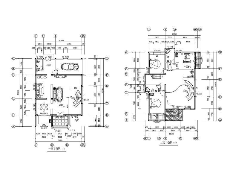 三层砖混结构别墅设计施工图(CAD)