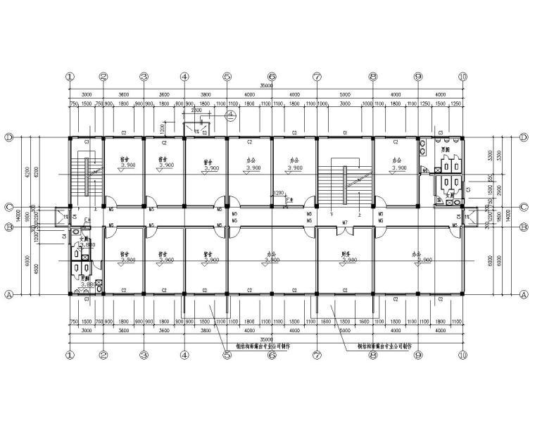 三层综合楼框架结构施工图(CAD含建筑图)