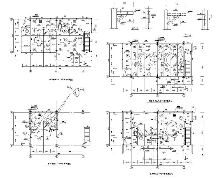 石油化工设备装置框架结构施工图(CAD)