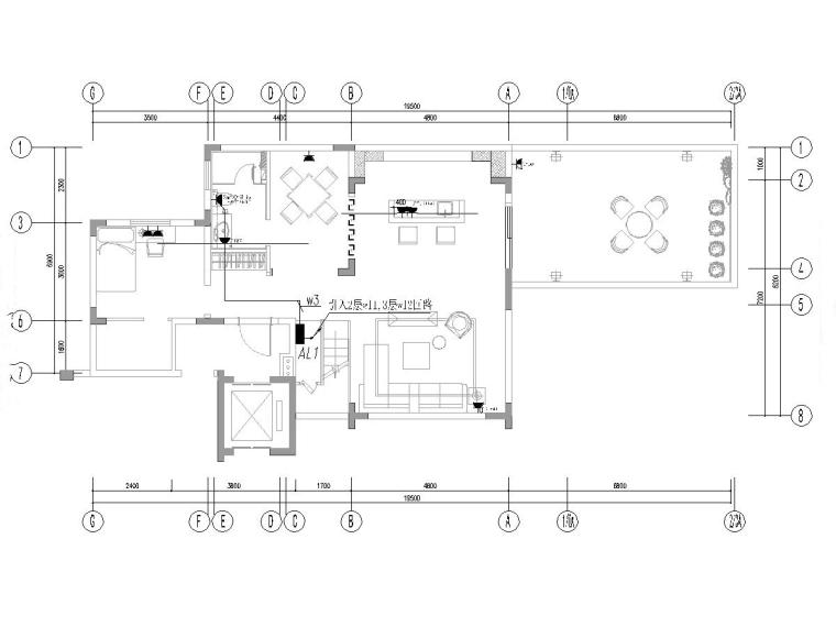 别墅室内样板间及公区装饰电气图纸(2017)-江西南昌某叠墅样板间装修项目电气图纸-插座平面图