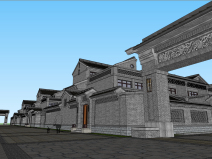 中式院落民宿群建筑模型