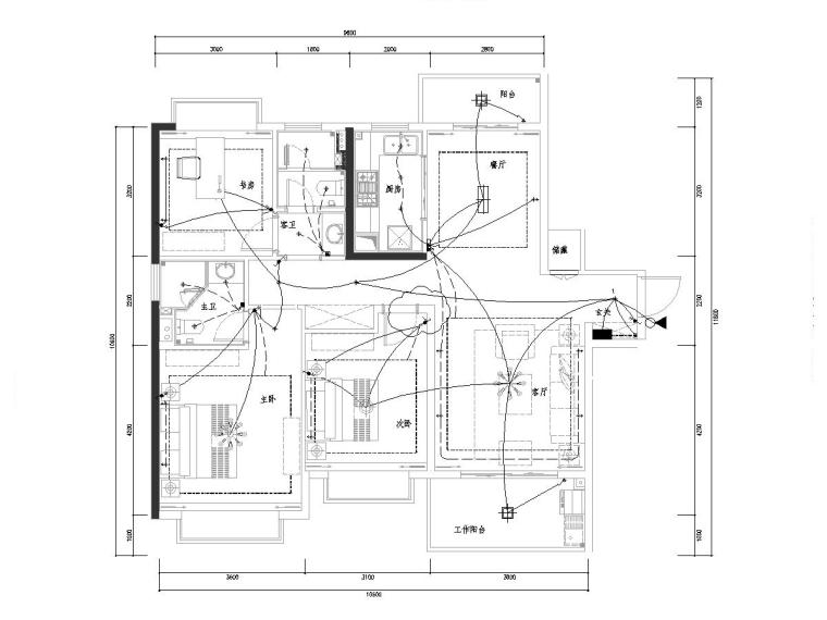 别墅室内样板间及公区装饰电气图纸(2017)-江西南昌某叠墅样板间装修项目电气图纸-天花照明平面布置图
