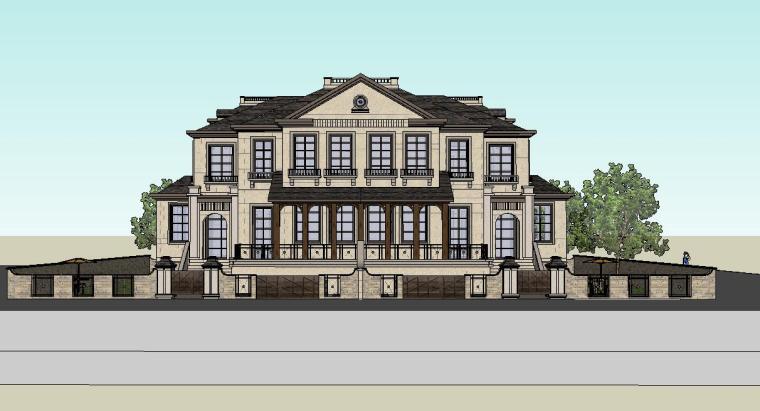 欧式风格俱乐部建筑模型