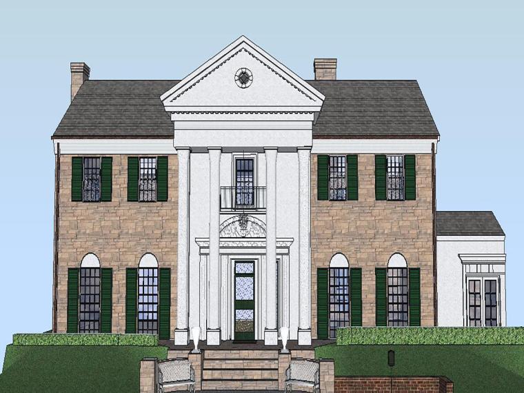 欧式别墅景观su模型资料下载-欧式罗马柱别墅建筑模型