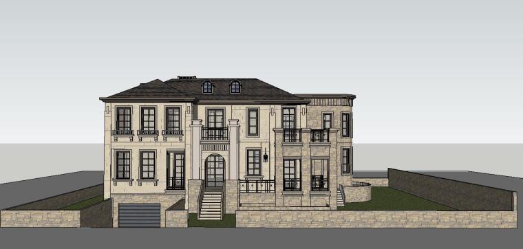 独栋欧式俱乐部建筑模型