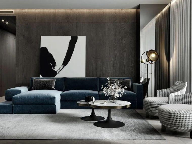 大理石+轻奢蓝,精简凝练的质感设计!