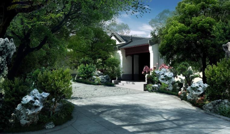 [北京]私人四合院中式庭院景观设计方案-入胜效果图