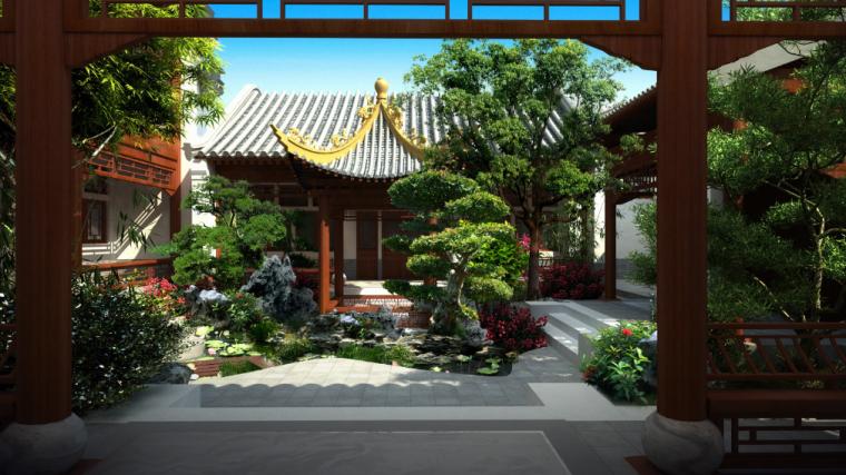 [北京]私人四合院中式庭院景观设计方案-听曲效果图