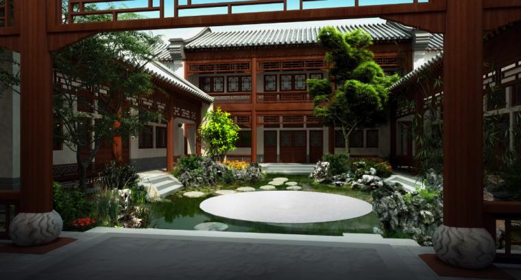 [北京]私人四合院中式庭院景观设计方案-邀月效果图