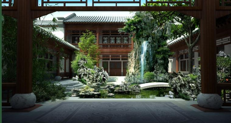 [北京]私人四合院中式庭院景观设计方案-悦水效果图