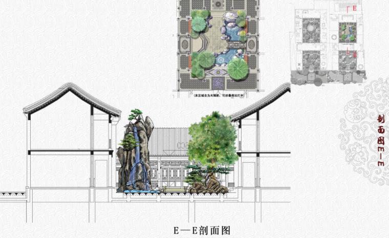 [北京]私人四合院中式庭院景观设计方案-E-E剖面图
